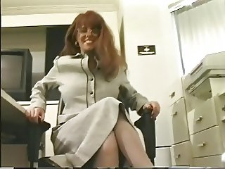 Hot busty secretary in glasses masturbates her wet pussy