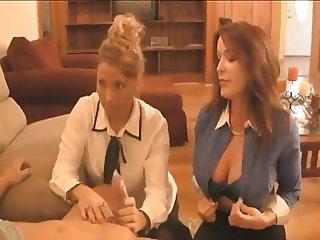 2 Busty MILFS Give A Handjob