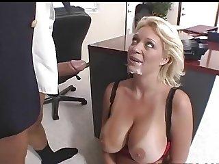 Beautiful Charlee serves her boss