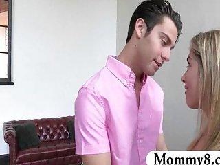 MILF stepmom shows teens new tricks in bed