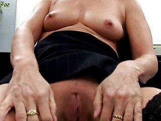 Mature cougar cock fucked to orgasm