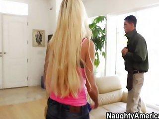 Blonde MILF and stud in bedroom romp