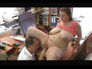 BBW secretary licking fucking