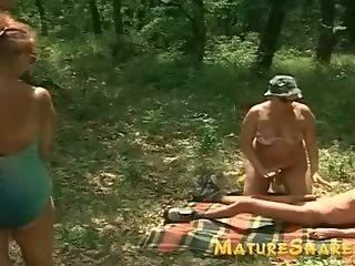 Outdoor granny orgie
