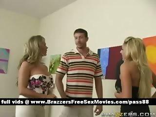 Busty blonde slut brings a guy gets him naked