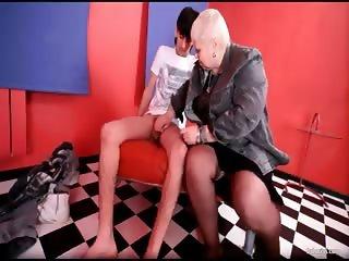 Sexy blonde MILF dr Lucia blows stiff part2