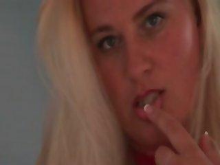 Nasty blondie teasing her mature twat
