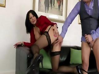 Older guy fucks hot stocking slut