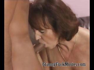 Granny Ann fucks two horny studs