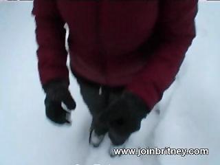 Outdoors winter blowjob