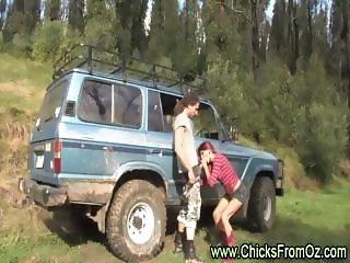 Aussie amateur girl gives boyfriend  outdoor blowjob