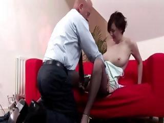 Stockinged slut sucks cock