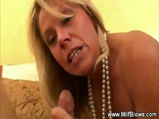 Mature milf gives blowjob cumshot and facial