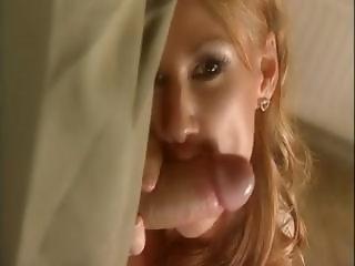 Cute redhead Julia Taylor sucks and gets banged for a cumshot
