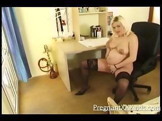 Dildo Fucked Pregnant Babe