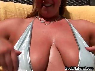 Slutty bigtit blond bitch stripping