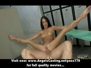 Amateur amazing flexible brunette babe doing blowjob and fucking