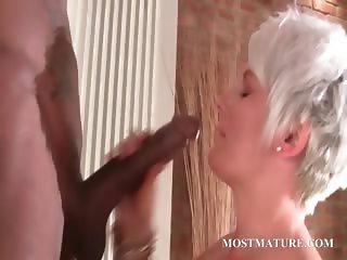 Stockinged mature fucks black hard cock