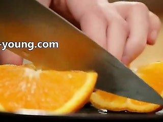 graceful masturbation in the kitchen