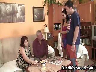 Girlfriend sucks his mom's tits