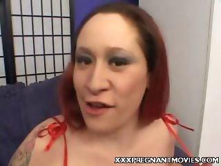 Preggo Brunette Stripping
