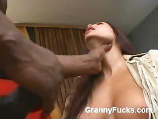 Horny Older Babe Gives Interracial Oral