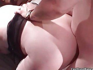 Old chubby slut sucks and receives big cocks