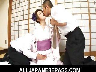 Hot MILF Rinka Kanzaki takes on two horndogs
