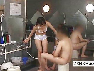 Japanese sauna lady bathing with cumshot